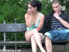 Cute young girl in PUBLIC threesome sex in the center of town in broad daylight AWESOME